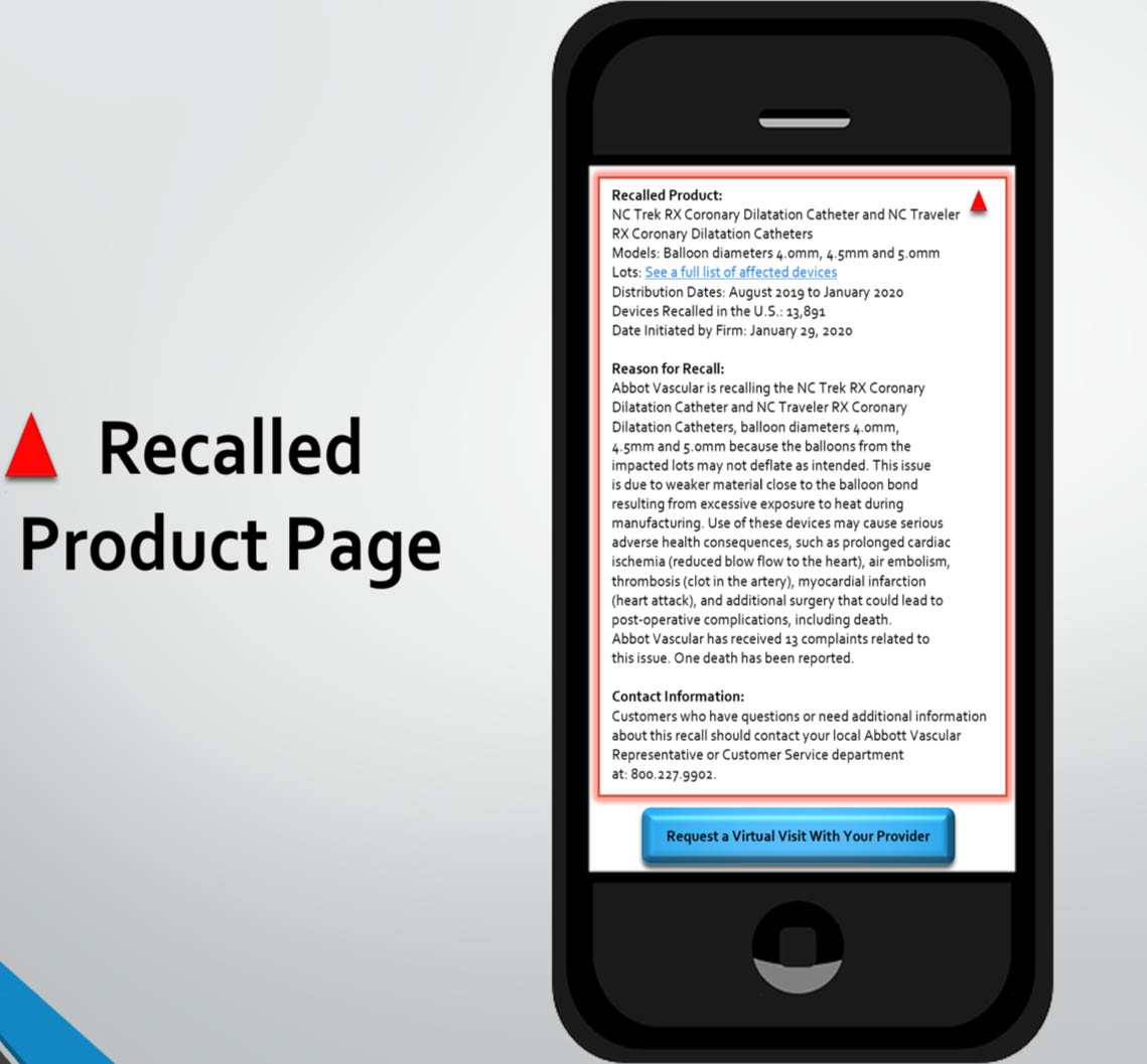 Recalled product page