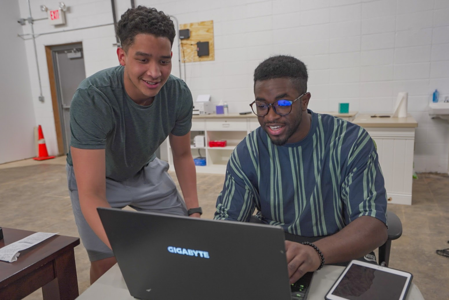 KJ and Timmy Working in Our Drone Test Lab