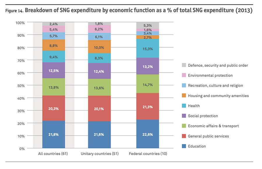 Breakdown of SNG expenditure by economic function as a % of total SNG expenditure (2013)