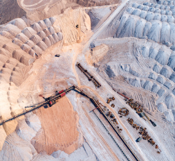 aerial view of mining operation