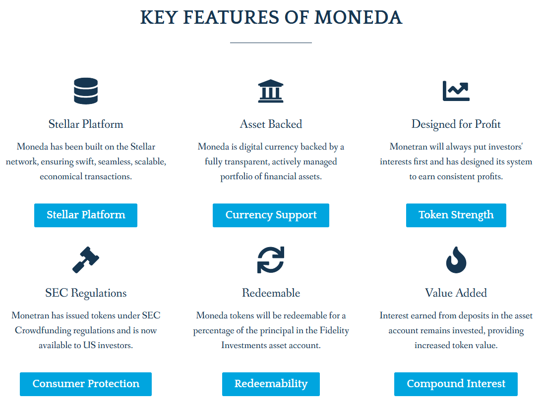 Moneda features