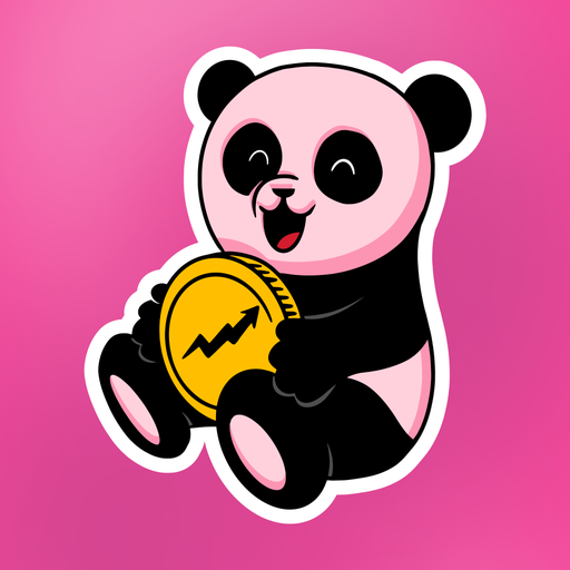 Pink Panda Holding Coin